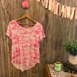 {hollister}must have collection pink tie dye tee m